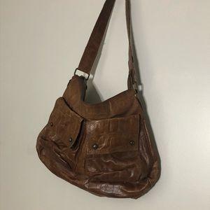 Pulcati Genuine Vintage Brown Leather Hobo Bag